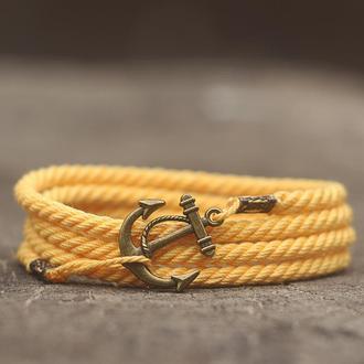 Яркий летний браслет на руку (Браслет с якорем) - желтый. Стильный подарок девушки или мужчине