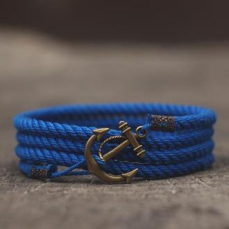 Мужской браслет с якорем MARINE ROPE - синий. (Морской браслет на руку )