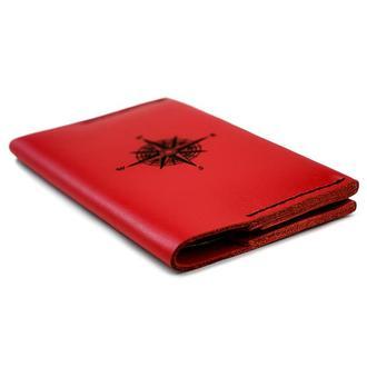 Кожаная женская обложка для паспорта Compass - Красная (Докхолдер - портмоне для документов)