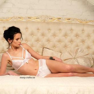 белое кружевное нижнее белье, подарок девушке, комплект бюстгальтер размер 75А 75В слипы XS S M L