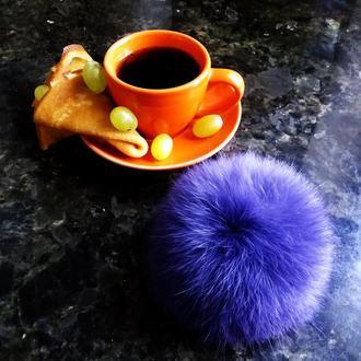 Меховой помпон Кролик Фиолет 8 см