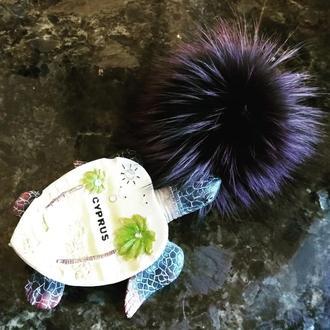 Натуральный меховой помпон Чернобурка Фиолетовый 11 см