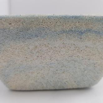 Пиала из бетона, в стиле Loft - белая с голубым