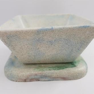Набор пиала и подставка под пиалу, сделанные вручную из бетона - белый с голубым