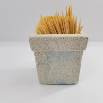 Подставка для зубочисток из бетона ручной работы, в стиле Loft - белый с голубым