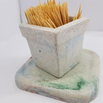 Набор стакан для зубочисток с подставкой из бетона, ручной работы, в стиле Loft - белый с голубым