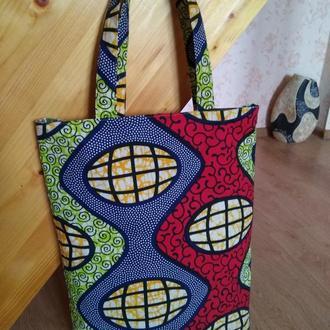 """Эко-сумка, тканевая сумка """"Иллюзия"""" ручной работы"""