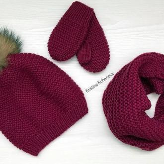 В'язаний комплект шапка снуд рукавички