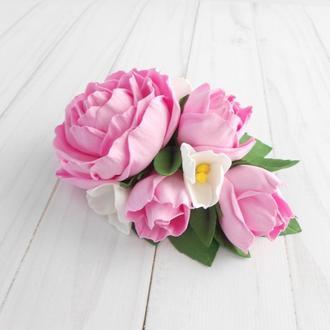 Гребень с розами на свадьбу Розовая заколка с цветами Подарок женщине на 8 марта Украшение девушке