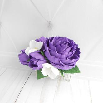 Украшение с фиолетовыми цветами для волос на свадьбу Подарок на 8 марта Гребень с розами девушке