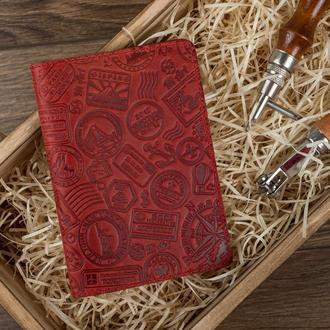 """Обложка для паспорта  HiArt PC-02 Shabby Red Berry """"Let's go travel"""""""