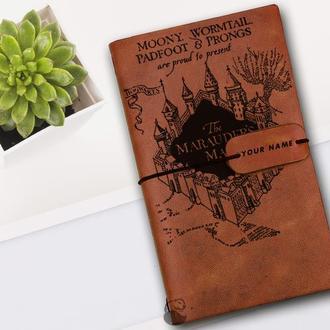 Блокнот из кожи, Гарри Поттер, Карта Марадерс,Блокнот из кожи, Записная книжка, Скетчбук, Подарок