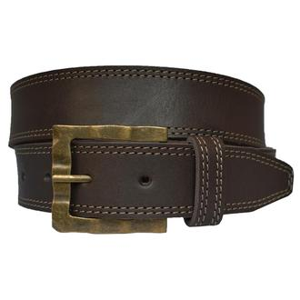 Target мужской кожаный ремень коричневый со строчкой пояс кожанный