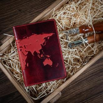 "Обложка для паспорта  HiArt PC-02 Shabby Red Berry ""World Map"""