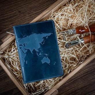 "Обложка для паспорта  HiArt PC-02 Shabby Lagoon ""World Map"""
