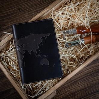 "Обложка для паспорта  HiArt PC-02 Shabby Gavana Brown ""World Map"""