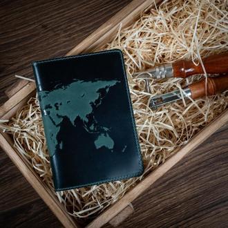 "Обложка для паспорта  HiArt PC-02 Shabby Alga ""World Map"""