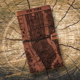 Блокнот из кожи, Карта города, Кожаный блокнот, Записная книжка, Блокнот со сменными блоками