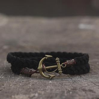 Мужской браслет с якорем Port Royal - Чёрный. (Плетёный браслет на руку в два оборота)