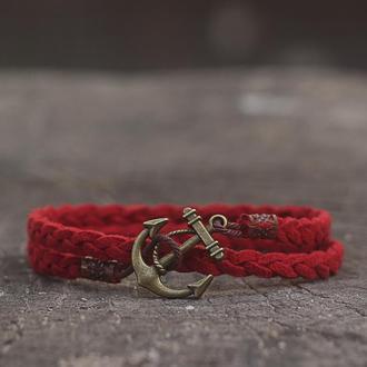 Красный женский браслет с якорем Port-Royal (Плетёный браслет на руку) - Подарок девушке