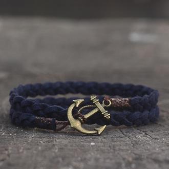 Мужской браслет с якорем Port Royal - Темно-синий. (Плетёный браслет на руку в два оборота)