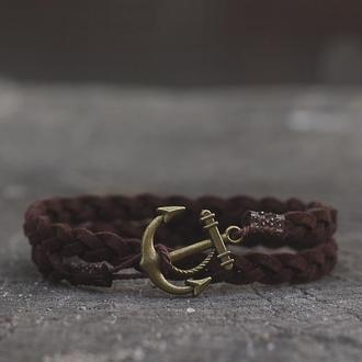 Плетёный браслет с якорем Port Royal - Коричневый. (Браслет на руку в два оборота)