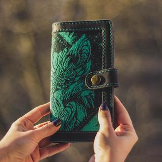 Длинный кожаный женский кошелек с волком. Великий жіночий гаманець з вовком.