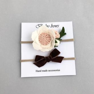 Веночек на безрозмерной резинке, шоколадный бархатный бантик, набор прелести для маленькой девочки