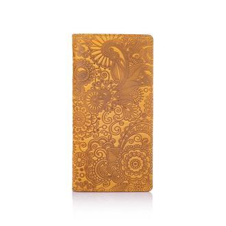 "Светло желтый Кожаный Бумажник Hi Art WP-02 Shabby Honey  ""Mehendi Art"""