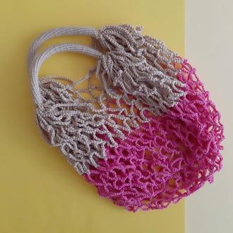 Авоська розовая с бежевым, бюджетный подарок, экосумка