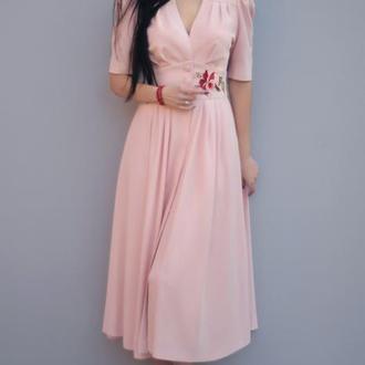 """Элегантное платье с вышивкой """"Китайская роза"""" вышитое платье"""