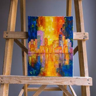 Интерьерная картина Город (масло,мастихин)
