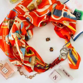 """Атласный  платок """"Оранжевое настроение"""" My Scarf, шейный платок, подарок женщине"""