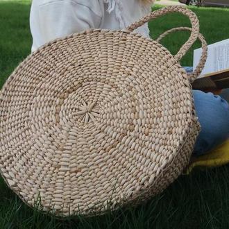 Кругла солом'яна сумка велика круглая соломенная сумочка