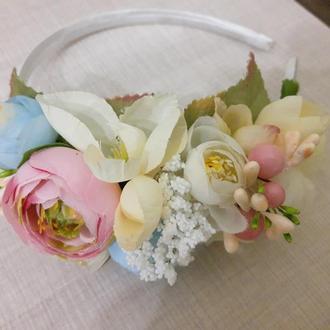 Веночек /ободочек на голову  из искусственных цветов №20
