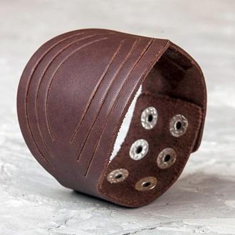 Круглый коричневый кожаный браслет код 4608