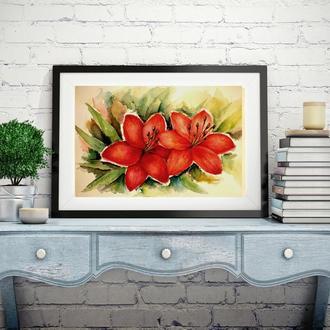 Картина цветы Картина с цветами Цветы акварелью Картина акварелью Лилии картина Заказать картину
