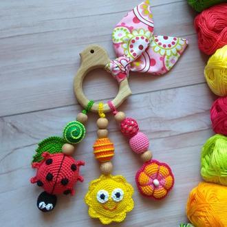 Грызунок прорезыватель, развивающая вязаная игрушка, подарок для малыша, деревянная