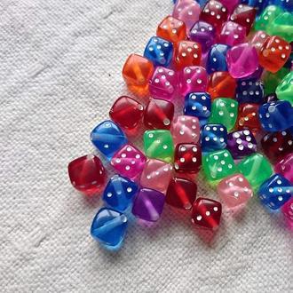 Бусины Игральные Кубики разноцветные, 10 шт.