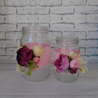 Набор из ваз из банок, шебби шик, вазы из банок, декор для интерьера