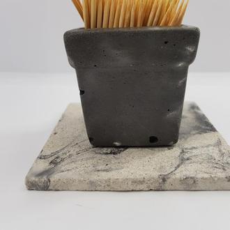 Набор стакан для зубочисток с подставкой из бетона, , в стиле Loft - черный с белым