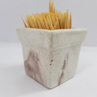Подставка для зубочисток из бетона , в стиле Loft - белый с коричневым