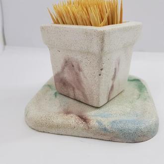 Набор стакан для зубочисток с подставкой из бетона, в стиле Loft - белый с коричневым