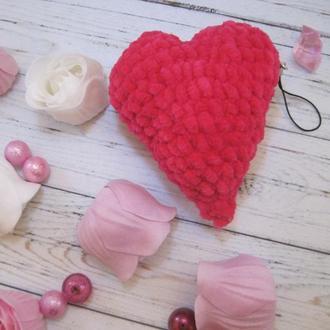 Брелок-подвеска Плюшевое Сердце, Валентинка, Серце, День Святого Валентина, Подарок, Игрушка