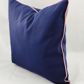 Диванная подушка. Однотонная, цветная, синяя подушка. Подушка с розовым бортом. Подушка с замком.