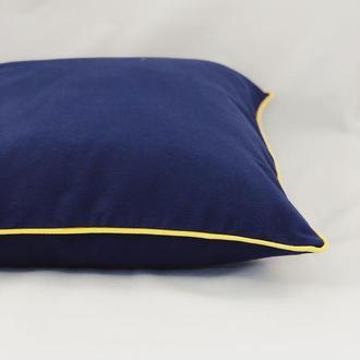 Диванная подушка. Однотонная, цветная, синяя подушка. Подушка с желтым бортом. Подушка с замком.