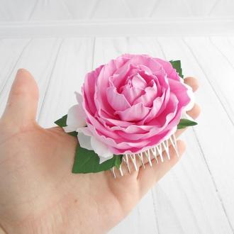 Розовый гребень с цветами на свадьбу Украшение с розой для волос женщине Подарок девушке на 8 марта