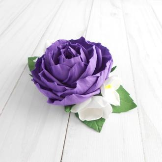 Фиолетовый цветочный гребень для волос девушке Заколка с розой на свадьбу Подарок женщине на 8 марта