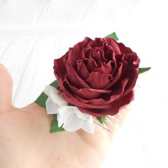 Бордовый гребень с розой Украшение для волос девушке Заколка с цветами Подарок женщине на 8 марта