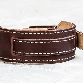 Коричневый прошитый легкий кожаный браслет с тонкой полосой код 6520ст